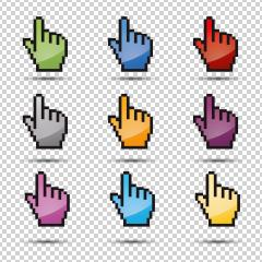 pixel hand vector icon set 3d, ok symbol in different colors on checked transparent background. Vector illustration. Eps 10 vector file.- Stock Photo or Stock Video of rcfotostock | RC-Photo-Stock