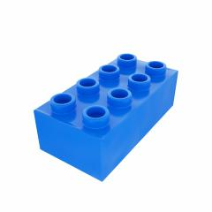 Plastic building block in blue color isolated on white background- Stock Photo or Stock Video of rcfotostock | RC-Photo-Stock