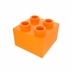 Plastic building block in orange color isolated on white background- Stock Photo or Stock Video of rcfotostock | RC-Photo-Stock