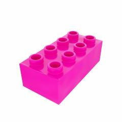 Plastic building block in pink color isolated on white background- Stock Photo or Stock Video of rcfotostock | RC-Photo-Stock