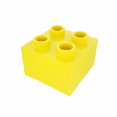 Plastic building block in yellow color isolated on white background- Stock Photo or Stock Video of rcfotostock | RC-Photo-Stock