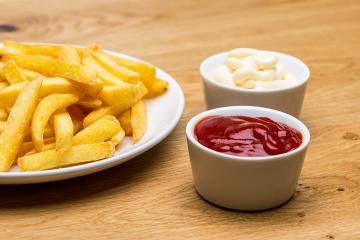 plate with fries and sauces- Stock Photo or Stock Video of rcfotostock | RC-Photo-Stock