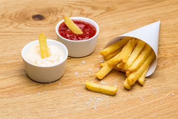 Pommes fries bag with ketchup and mayonnaise : Stock Photo or Stock Video Download rcfotostock photos, images and assets rcfotostock | RC-Photo-Stock.: