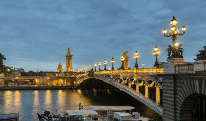 Pont Alexandre III bridge over river Seine and Hotel des Invalides at sunset. Bridge decorated with ornate Art Nouveau lamps and sculptures. Paris, France : Stock Photo or Stock Video Download rcfotostock photos, images and assets rcfotostock | RC-Photo-Stock.: