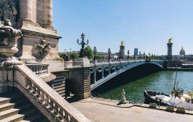 Pont Alexandre III bridge over river Seine. Bridge decorated with ornate Art Nouveau lamps and sculptures. Paris, France : Stock Photo or Stock Video Download rcfotostock photos, images and assets rcfotostock | RC-Photo-Stock.: