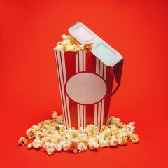 popcorn box with 3D glasses on red background, cinema, movies and entertainment concept image- Stock Photo or Stock Video of rcfotostock | RC-Photo-Stock