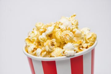 popcorn in a box on gray background- Stock Photo or Stock Video of rcfotostock | RC-Photo-Stock