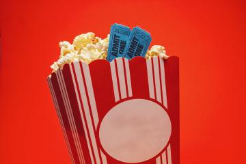Popcorn with cinema tickets in a large square box - Stock Photo or Stock Video of rcfotostock | RC-Photo-Stock