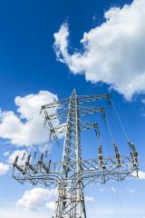 power pole on blue sky cloudy high voltage electricity production- Stock Photo or Stock Video of rcfotostock | RC-Photo-Stock