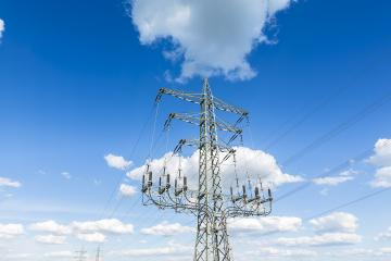 power pole on blue sky cloudy high voltage electricity production : Stock Photo or Stock Video Download rcfotostock photos, images and assets rcfotostock | RC-Photo-Stock.: