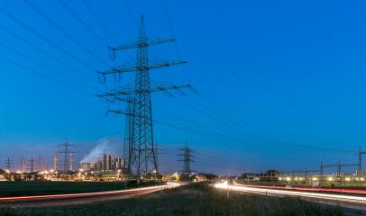 Power supply at night with industrial plant- Stock Photo or Stock Video of rcfotostock | RC-Photo-Stock