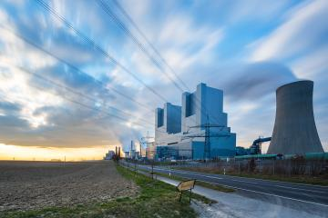 powerplant pollution at a cloudy sunset sky  : Stock Photo or Stock Video Download rcfotostock photos, images and assets rcfotostock | RC-Photo-Stock.: