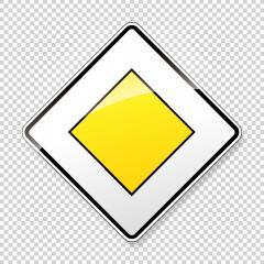 Priority road Traffic sign. German road sign: respect the right of way. Yield! on main road on checked transparent background. Vector illustration. Eps 10 vector file.- Stock Photo or Stock Video of rcfotostock | RC-Photo-Stock