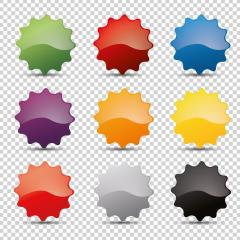 Promo sale badges in different colors or round starburst stickers, for logo isolated design on checked transparent background, copy space for individual text. Vector illustration. Eps 10 vector file.- Stock Photo or Stock Video of rcfotostock | RC-Photo-Stock