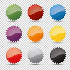 Promo sale badges in different colors or starburst stickers icons, for logo isolated design on checked transparent background, copy space for individual text. Vector illustration. Eps 10 vector file.- Stock Photo or Stock Video of rcfotostock | RC-Photo-Stock