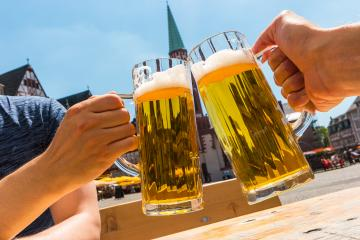 Prost! with two beer glasses at summer in Frankfurt : Stock Photo or Stock Video Download rcfotostock photos, images and assets rcfotostock | RC-Photo-Stock.:
