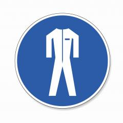 Protective safety clothing must be worn. Safety overalls must be worn , mandatory sign or safety sign, on white background. Vector Eps 10.- Stock Photo or Stock Video of rcfotostock | RC-Photo-Stock