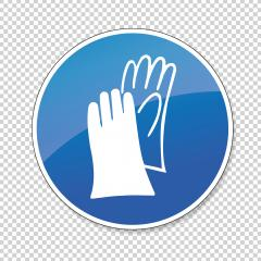 Protective safety gloves must be worn. Wear protective gloves, Protective safety boots must be worn mandatory sign or safety sign, on checked transparent background. Vector Eps 10.- Stock Photo or Stock Video of rcfotostock | RC-Photo-Stock