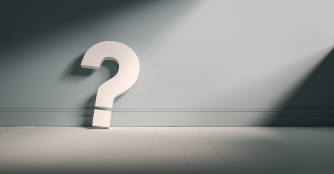 Question mark on light blue background wall, empty room, banner, space for text. - Stock Photo or Stock Video of rcfotostock | RC-Photo-Stock