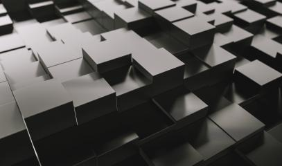 Realistic black solid cubes, located in space at different levels. Abstract background of 3d cubes - 3D rendering - Illustration- Stock Photo or Stock Video of rcfotostock | RC-Photo-Stock