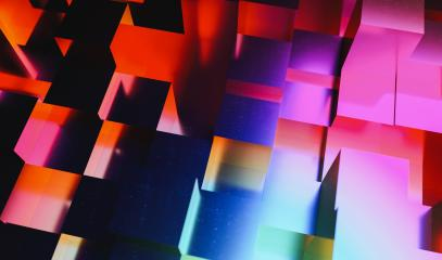 Realistic colorful solid cubes, located in space at different levels. Abstract party gaming disco background - Stock Photo or Stock Video of rcfotostock | RC-Photo-Stock