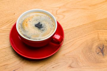 red coffee cup on wood- Stock Photo or Stock Video of rcfotostock | RC-Photo-Stock