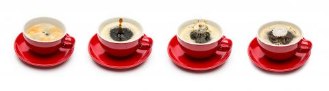 red coffee cups with drop art splashes set- Stock Photo or Stock Video of rcfotostock | RC-Photo-Stock
