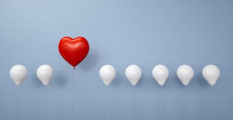 Red heart for Valentine's Day as a balloon in a row - 3D Rendering : Stock Photo or Stock Video Download rcfotostock photos, images and assets rcfotostock | RC-Photo-Stock.: