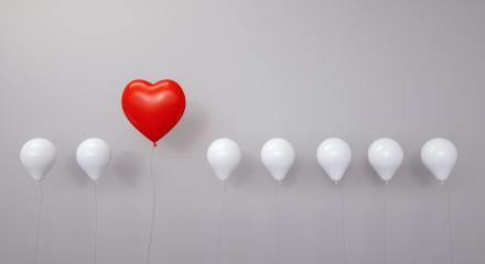 Red heart for Valentine's Day as a balloon in a row - 3D Rendering- Stock Photo or Stock Video of rcfotostock | RC-Photo-Stock