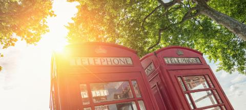 Red phone boxes at a summer day in London, United Kingdom- Stock Photo or Stock Video of rcfotostock | RC-Photo-Stock