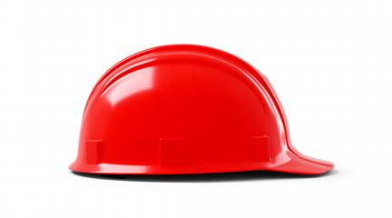 red Plastic safety helmet on white background. 3D rendering- Stock Photo or Stock Video of rcfotostock | RC-Photo-Stock