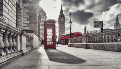 Red telephone booth and Big Ben in London, England, the UK. The symbols of London in black on white colors.- Stock Photo or Stock Video of rcfotostock | RC-Photo-Stock