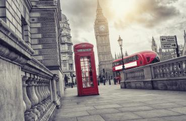Red telephone booth and Big Ben with bus in London, England, the UK- Stock Photo or Stock Video of rcfotostock | RC-Photo-Stock