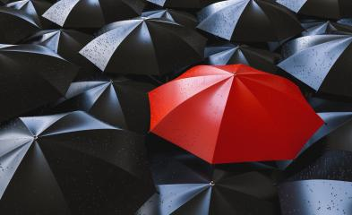 Red umbrella between black ones, individuality and difference concept- Stock Photo or Stock Video of rcfotostock | RC-Photo-Stock