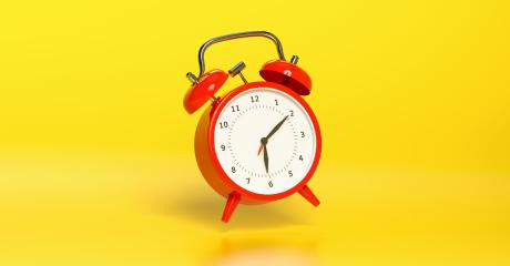 Red vintage alarm clock falling on the floor with bright yellow background. Minimal creative concept, with copyspace for your individual text. : Stock Photo or Stock Video Download rcfotostock photos, images and assets rcfotostock | RC-Photo-Stock.: