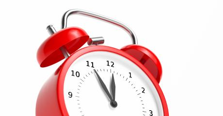 Red vintage alarm clock point to five minutes to twelve o- Stock Photo or Stock Video of rcfotostock | RC-Photo-Stock