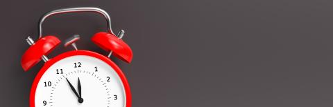 Red vintage alarm clock point to five minutes to twelve o'clock, gray background, banner size, with copyspace for your individual text. : Stock Photo or Stock Video Download rcfotostock photos, images and assets rcfotostock   RC-Photo-Stock.:
