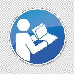 Refer to instruction manual and booklet, mandatory sign or safety sign, on checked transparent background. Vector illustration. Eps 10 vector file.- Stock Photo or Stock Video of rcfotostock   RC-Photo-Stock
