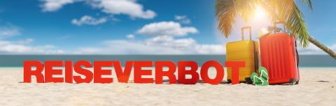 Reiseverbot (German for: Travel ban in the coronavirus pandemic) concept with slogan on the beach with Suitcase, Palm tree, flip-flops and blue sky : Stock Photo or Stock Video Download rcfotostock photos, images and assets rcfotostock | RC-Photo-Stock.:
