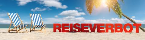 Reiseverbot (German for: Travel ban in the coronavirus pandemic) concept with slogan on the beach with deckchair, Palm tree and blue sky : Stock Photo or Stock Video Download rcfotostock photos, images and assets rcfotostock | RC-Photo-Stock.: