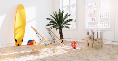 Relaxing in Coronavirus quarantine  or lockdown with the beach, deck chair and surfboard in the living room at home for Infection Protection   : Stock Photo or Stock Video Download rcfotostock photos, images and assets rcfotostock | RC-Photo-Stock.: