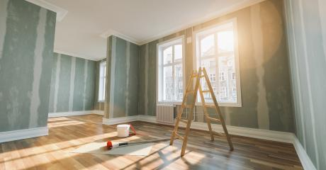 Renovation and modernization with drywall plaster in a walk-through room : Stock Photo or Stock Video Download rcfotostock photos, images and assets rcfotostock | RC-Photo-Stock.: