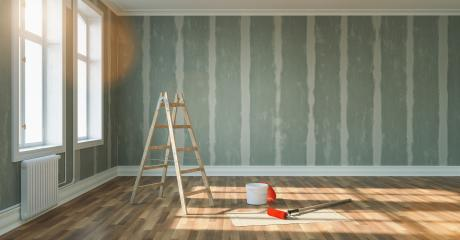 Renovation and modernization with drywall plaster in a walk-through room, copy space for individual text : Stock Photo or Stock Video Download rcfotostock photos, images and assets rcfotostock | RC-Photo-Stock.: