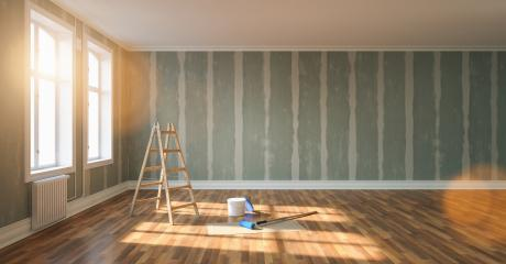 Renovation and modernization with Flattened drywall walls in a apartment room - renovation concept image- Stock Photo or Stock Video of rcfotostock | RC-Photo-Stock
