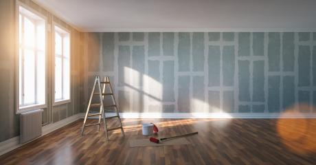 Renovation and modernization with Flattened drywall walls in a condo room - renovation concept image : Stock Photo or Stock Video Download rcfotostock photos, images and assets rcfotostock | RC-Photo-Stock.: