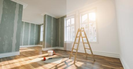 renovation concept - apartment before and after restoration or refurbishment with paint bucket and Flattened drywall walls : Stock Photo or Stock Video Download rcfotostock photos, images and assets rcfotostock   RC-Photo-Stock.: