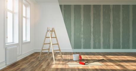 renovation concept - room before and after renovation with ladder, paint bucket and Flattened drywall walls : Stock Photo or Stock Video Download rcfotostock photos, images and assets rcfotostock | RC-Photo-Stock.: