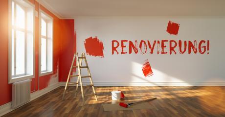Renovierung Slogan an einer Wand bei Renovierung einer Wohnung : Stock Photo or Stock Video Download rcfotostock photos, images and assets rcfotostock | RC-Photo-Stock.: