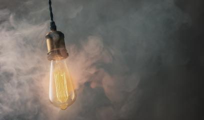 Retro Vintage Edison Bulb with misty smoke- Stock Photo or Stock Video of rcfotostock | RC-Photo-Stock