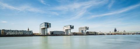 Rheinau harbor Panorama in Cologne : Stock Photo or Stock Video Download rcfotostock photos, images and assets rcfotostock | RC-Photo-Stock.:
